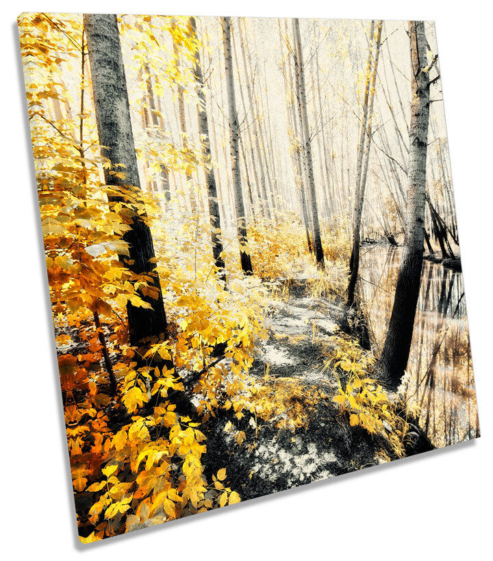 Floral Landscape Forest Blossom SQUARE CANVAS WALL ART Print Picture