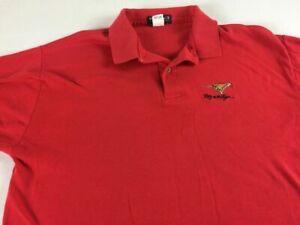 Rally Tiger Polo Shirt VTG Mens Large USA Made Red Cotton Golf Casual Vantage