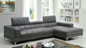 Contemporary Chrome Leg Sectional Gray Sofa Living Room Furniture Bonded Leather