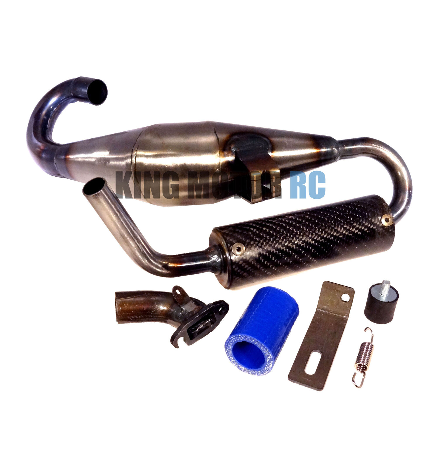 King Motor X2 Fat-Boy 2 Silenced Exhaust Tuned Pipe Fit LOSI 5IVE T Rovan LT