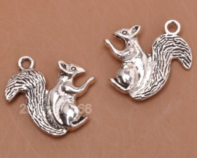 20pcs Tibetan silver charm 3D squirrel necklace pendant Jewelry Findings B3188
