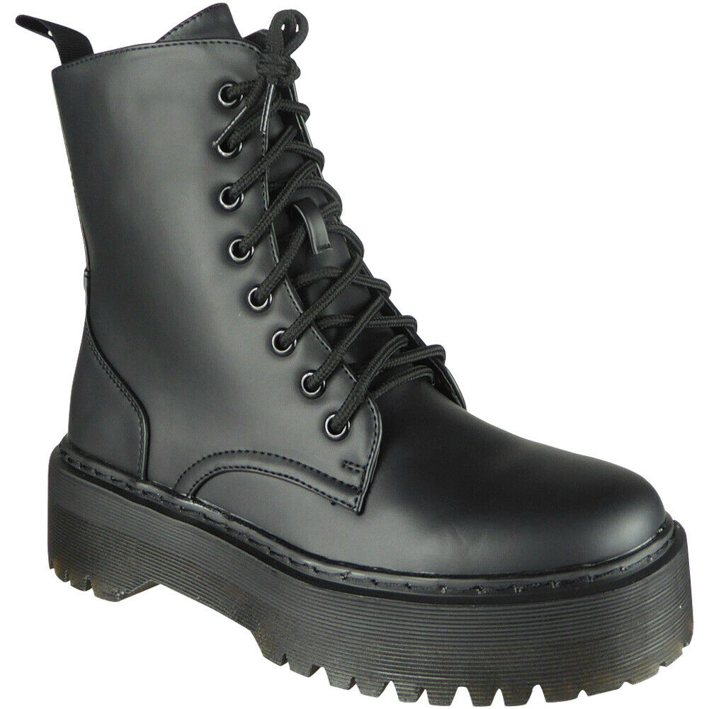 ba076cb79eb Details about Womens Ankle Chunky Ladies Lace Up Goth Punk Shiny Zip  Platform Shoes Boots Size