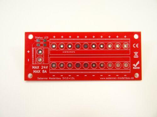 Lötplatine Stromverteiler SV10+1SL Gleich//Wechselstrom 8A max.24V