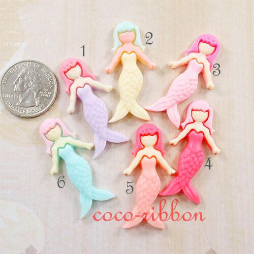 12 Pieces 42mm Mermaid Fairy Girl Princess Fairy Flatback Resin Cabochon C01