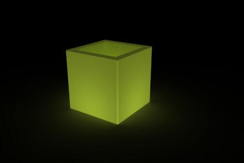 Vaso CUBO liscio moderno Resina luminoso luce da esterno//interno 45x45xh45cm