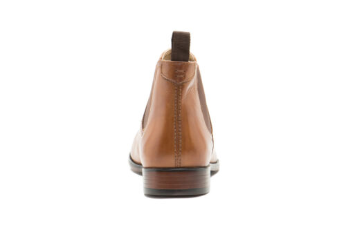 New Men/'s Red Tape cuir Beeston Chelsea Bottines À Enfiler Marron Clair Taille UK 9