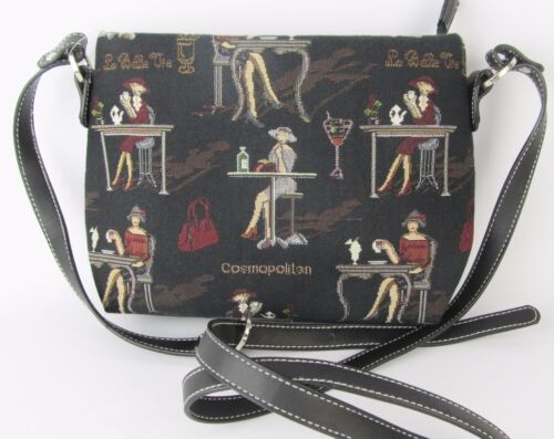 Elegant Lady on Black Tapestry Small Pouch Crossbody Bag  Signare