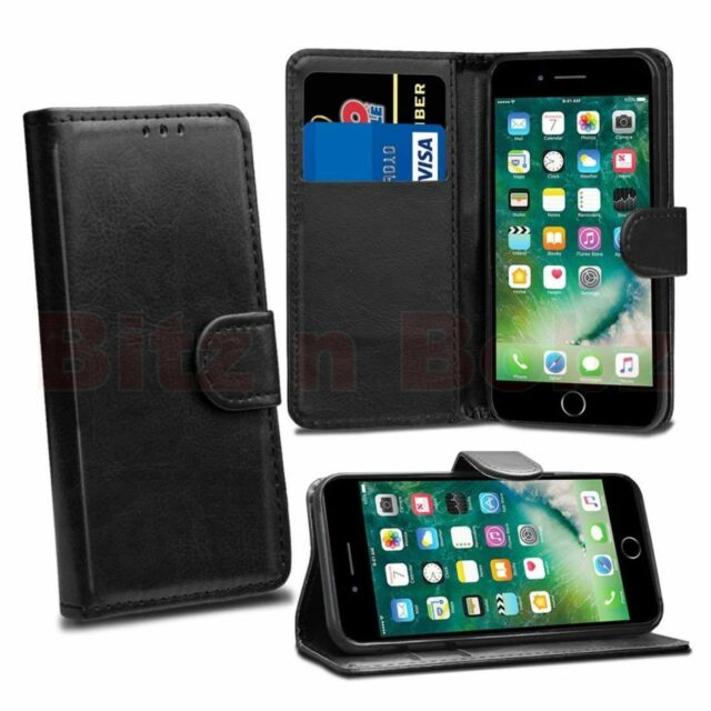 Premium Black Luxury Leather Wallet Magnetic Flip Case Cover for iPhone 7 Plus