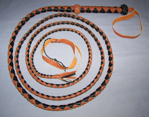 bull whip 12 Foot 4 Plait  BLACK AND TAN LEATHER BULLWHIP INDIANA JONES STYLE