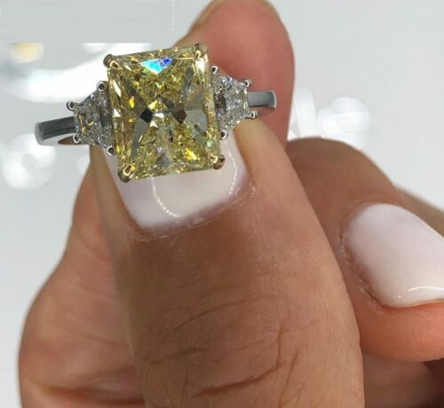 3.3ct Radiant Cut Yellow Sapphire Trilogy Engagement Ring 14k White Gold Finish