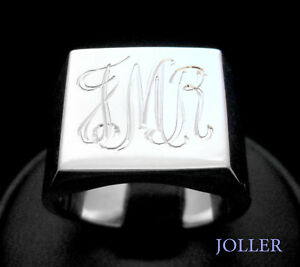 1e82717fae4c7 Details about SIGNET RING MENS SQUARE 15mm CUSTOM HAND ENGRAVED INITIALS  SILVER BY JOLLER