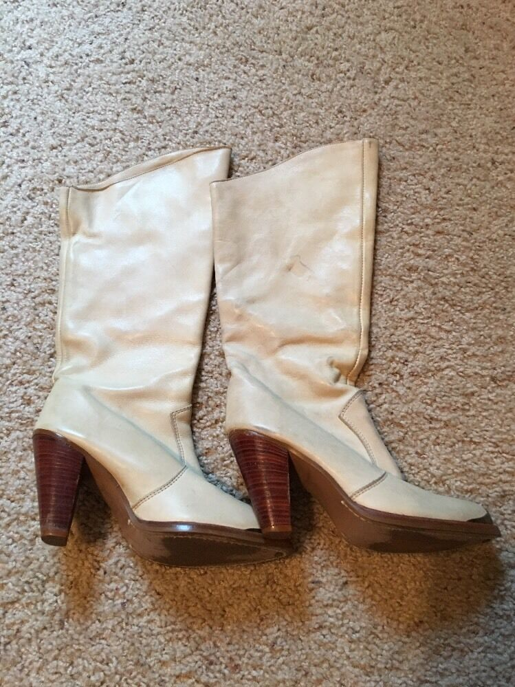Vintage Zodiac Western Style Leather Pull On Boots Beige Cream Off White Size 7M