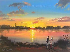 Pete-Rumney-Art-Original-Canvas-Painting-Sunset-Romance-Couple-Lake-Water-Light