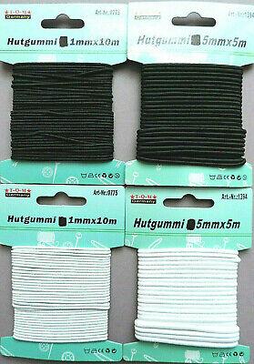 # 3x Hutgummi Gummiband je 3m x 3mm weiß Rundgummi Gummilitze Gummi