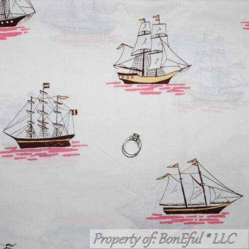 BonEful Fabric FQ Cotton Quilt White Pink Ship Sail*Boat Girl Nautical Flag Sea