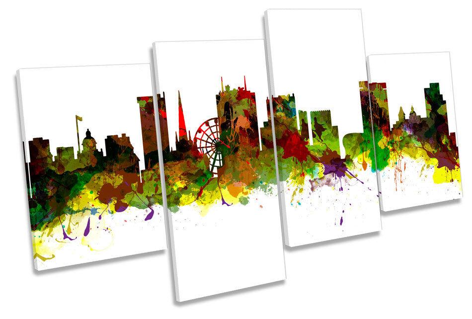 Birmingham City Skyline Modern MULTI CANVAS WALL ART Print Picture