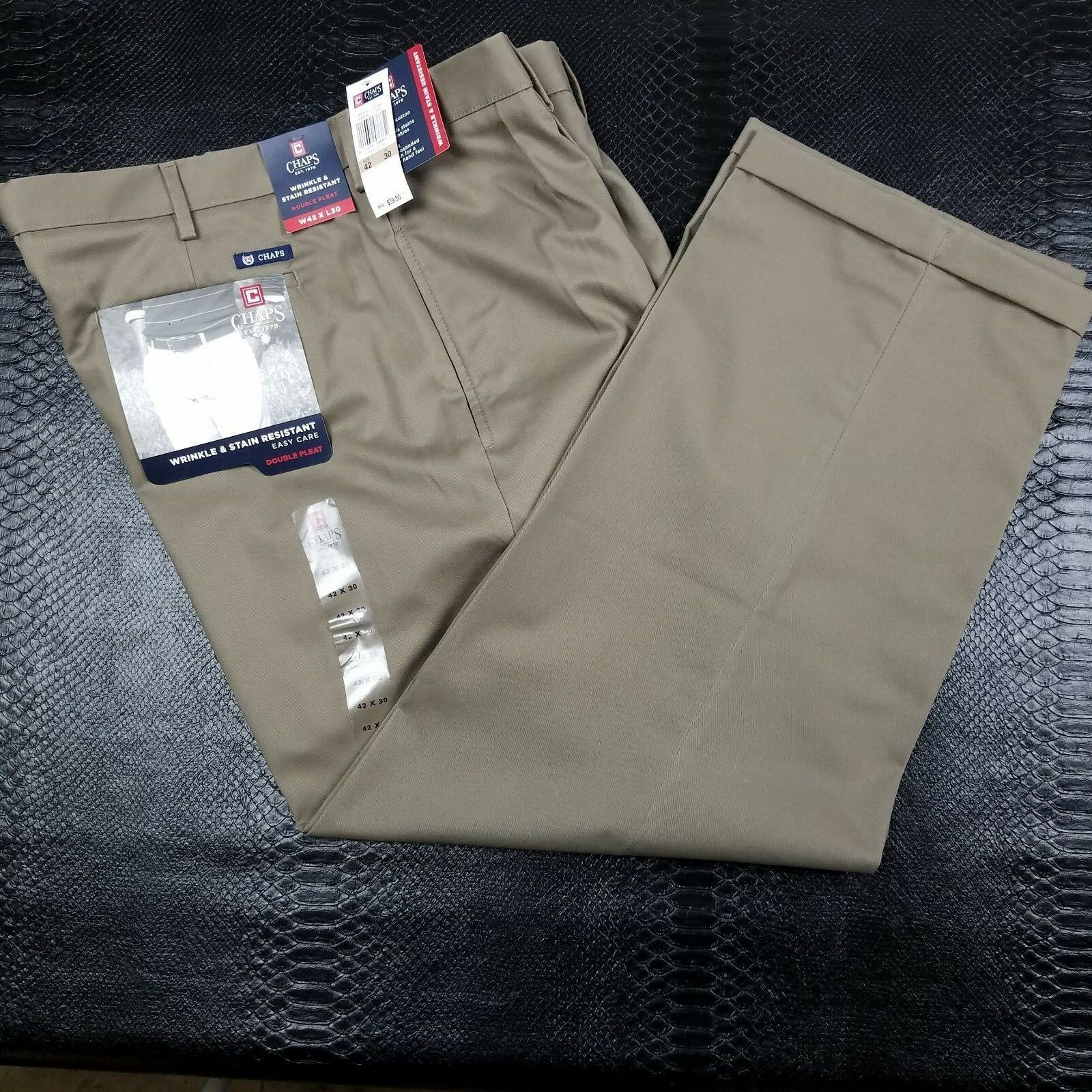 Chaps Mens 42x30 Wrinkle and Stain Resistant Double Pleat Pants (D1382)