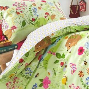 Bluebell-Bois-Housse-Couette-Simple-Set-Animaux-Fleurs-Enfants-Reversible-Vert