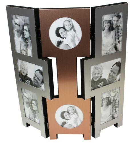 8 Picture Copper Silver Folding Photo Picture Frame Multi Collage Aperture Gifts