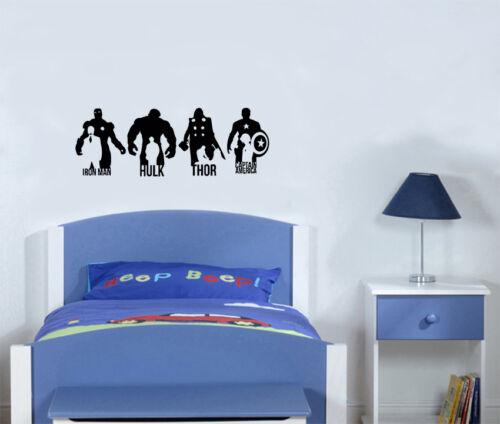 Marvel Iron Man Hulk Thor Captain America Hero Decal Wall Art Sticker Picture
