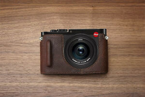 Genuine-real-Leather-Half-Camera-Case-Bag-Cover-for-Leica-Q-Typ-116-Brown-Color