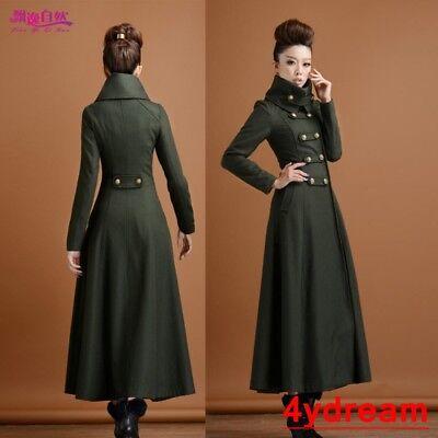 Slim Fit Women Lady Full Long Double Breasted Woolen Blend Trench Coat Overcoat