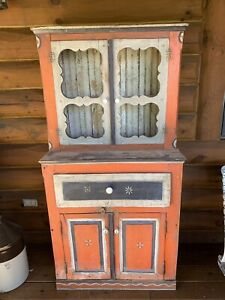 Antique-Vintage-Primitive-Wood-Hand-Painted-Cupboard-Hutch-Kitchen-Cabinet