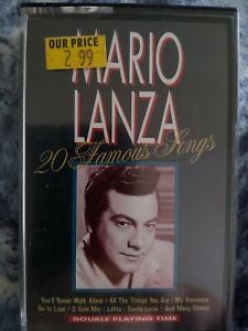 MARIO LANZA - 20 FAMOUS SONGS - (1990) Cassette Tape