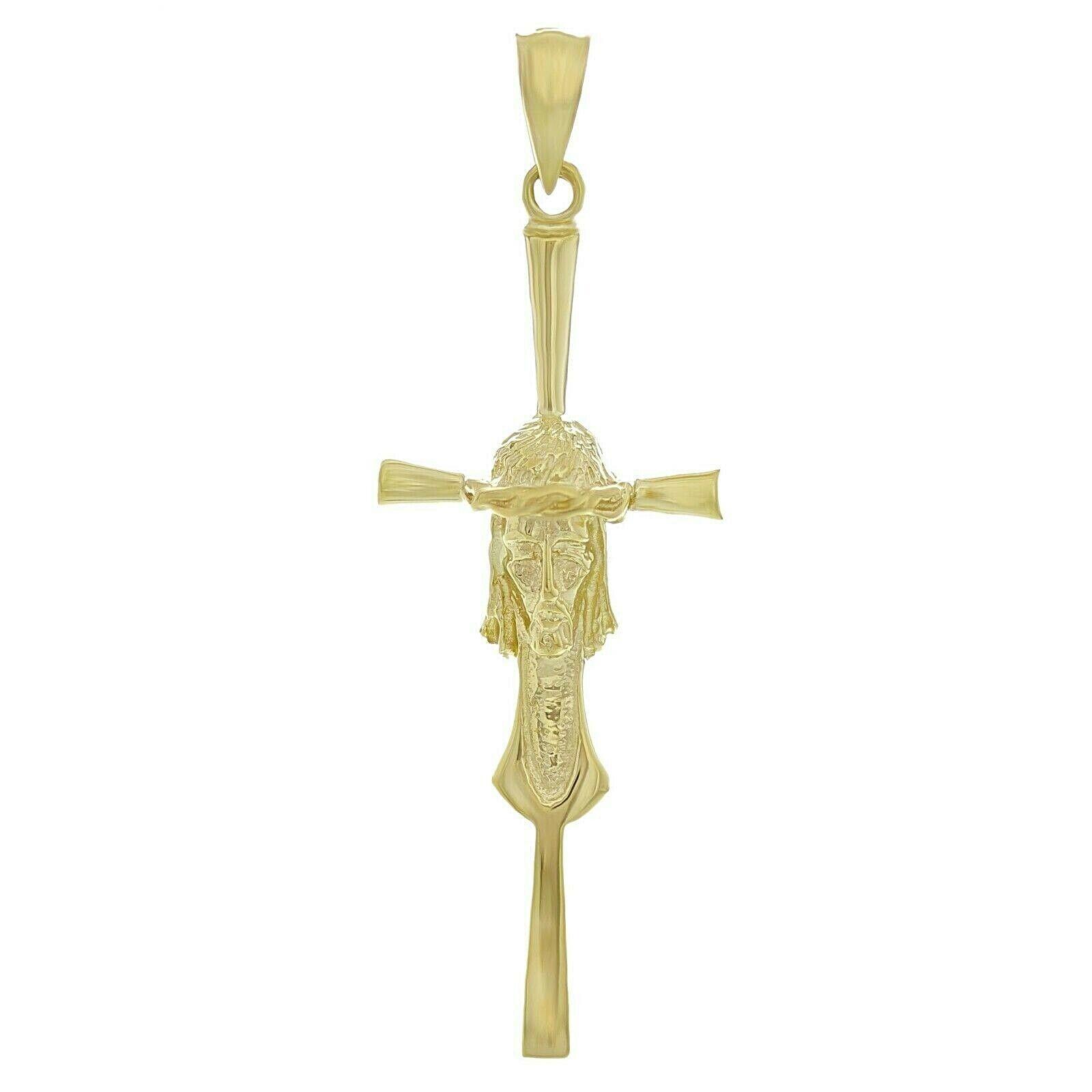 14k Two Tone Gold Jesus Christ Crucifix Filigree Cross Charm Pendant 1.8grams