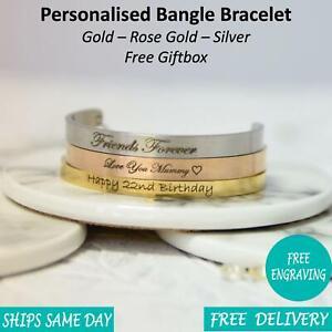 Mens-Personalised-Engraved-Custom-Bangle-Bracelet-Gold-Silver-Rose-Gold