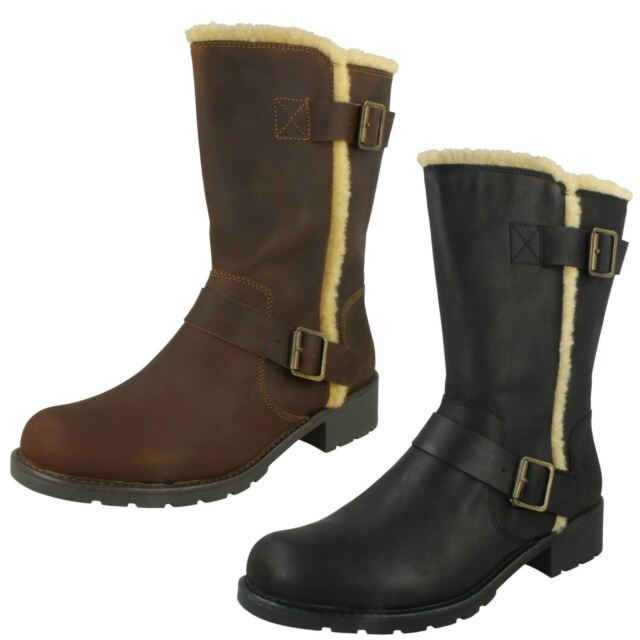 b0853405b8f071 Ladies Clarks Orinoco Art Black Or Beeswax Brown Leather Casual Mid Calf  Boots