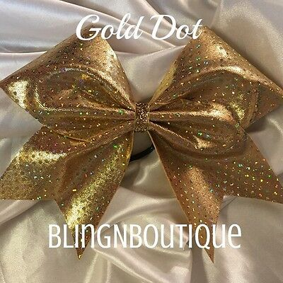 CHEER BOW All Gold Dot Cheer Bow W//Rhinestone Center Gold Dot
