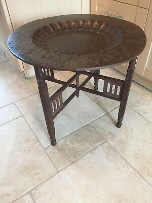 Antique Indian Morroccan Coffee Table Brass Top Carved Wood