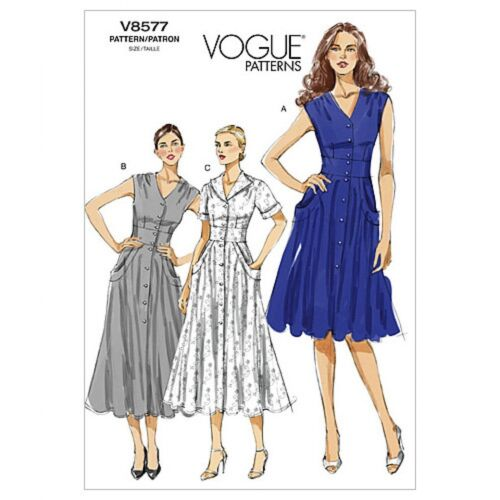Vogue-8577-M Vogue Ladies Easy Sewing Pattern 8577 Tea Dress with Pockets