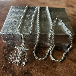 925-Sterling-silver-Nautical-Jesus-Anchor-Crucifix-Pendant-W-24-Long-Necklace