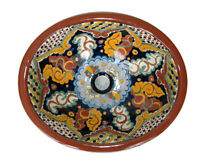 004) Mexican Ceramic Bathroom Sink Hand Paint Drop In - Undermount