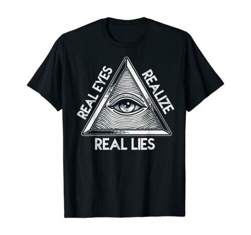 Realize Real Lie Illuminati Truth Secret Patriot Conspiracy Black T-shirt S-6XL