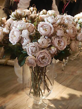 Realistic Quality Vintage Oyster Shrub Rose Spray Silk Flowers Sold In Two's