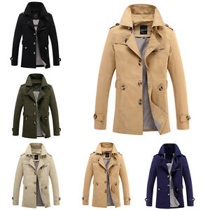 HOMME-MANTEAU-TRENCH-Business-Veste-d-039-HIVER-DE-COSTUME-chaud-Slim-coupe