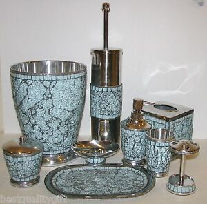 9 Pc Set Teal Blue Silver Metal Mosaic Dispenser Trash Can