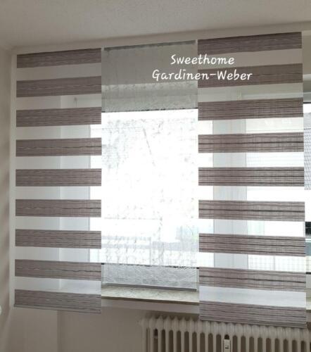 Schiebegardinen 3-er Set grau//Zebra Flächenvorhänge Modern Paneelwagen