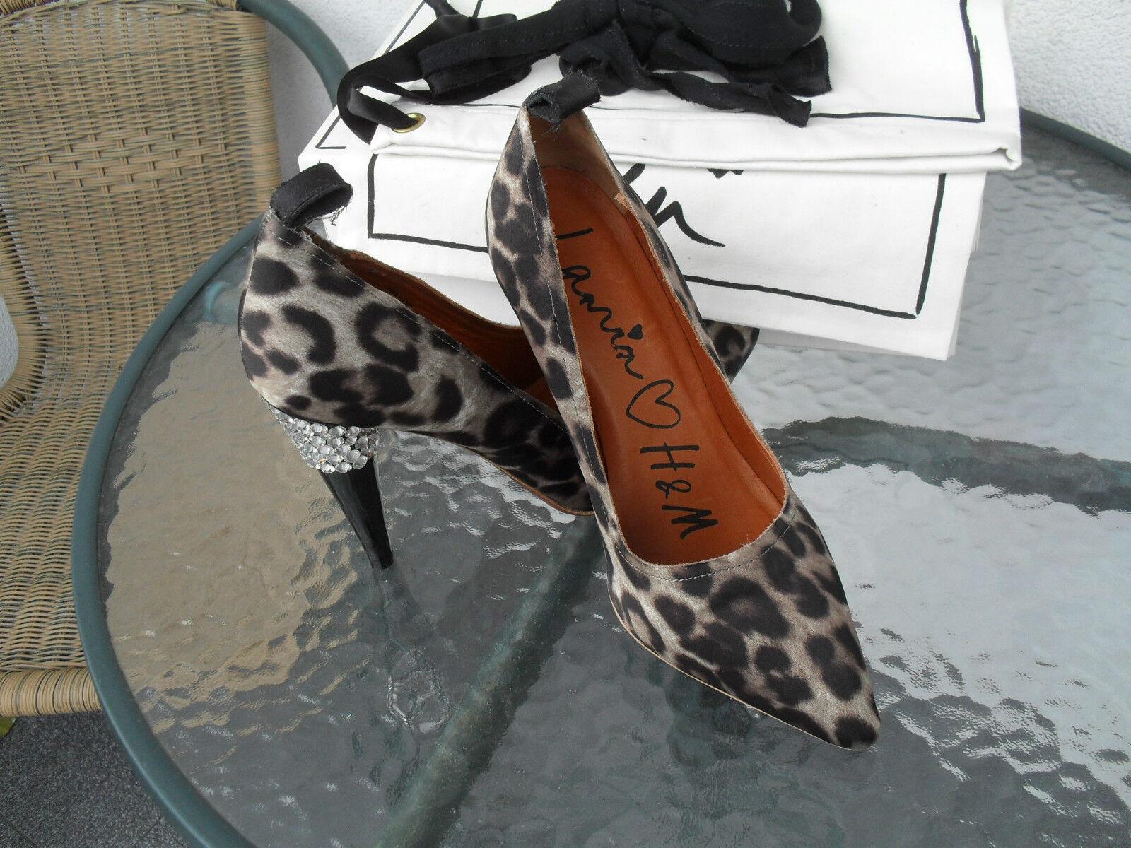 Lanvin for H&M Leopard Print Crystal Rhinestone Pumps Heels Dimensione 9 US