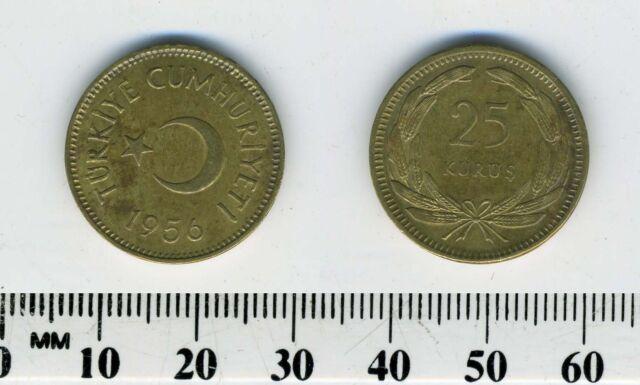 Turkey 1956 - 25 Kurus Brass Coin - Star and crescent