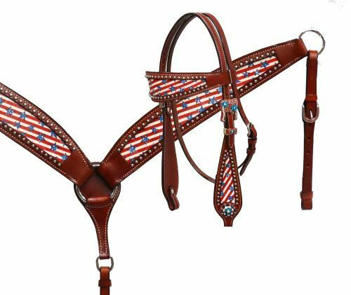 BLING  WESTERN SADDLE HORSE BRIDLE  BREAST COLLAR PLATE W  STARS AND STRIPES  hot