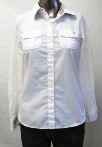 3ff297b10449 Das Bild wird geladen Tommy-Hilfiger-Neuwertig-Damen-Hemd-Bluse-Weiss-S-