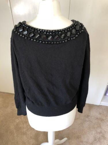 Around L Bennett Cardigan Black Neck With Size Embellishments Jewell Lk aAYqvw