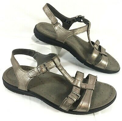 ECCO Flash T Strap Sandals Warm Gray Metalic leather Sz 39 US Sz 8 8.5 | eBay