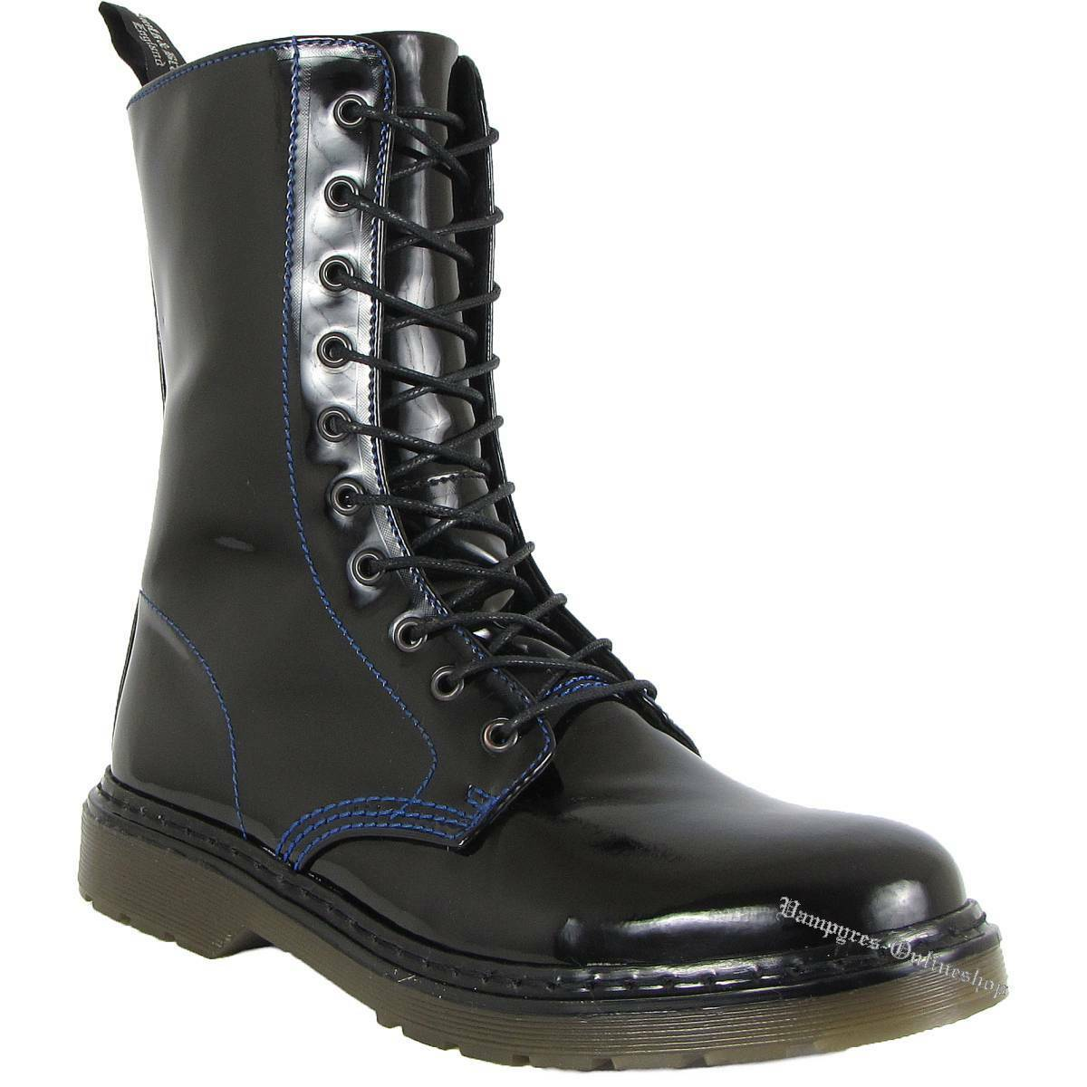 Boots And Braces Easy 10-Loch Iceland Patent black Lack Stiefel bluee Naht