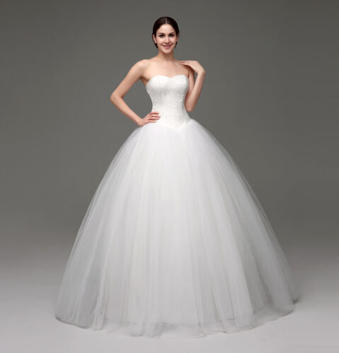 2018 White//Ivory Ball Gown Wedding Dresses Puffy Tulle Bridal Gowns Size 2-16++