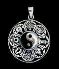 Pendentif tibetain Symboles auspicieux Argent massif 925 6.8g Tibet -1156 -M4